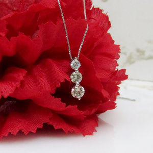 Jewelry - Diamond Three-Stone Necklace 14k White Gold